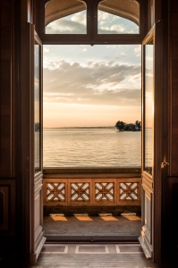 looking through open french doors at lake constance